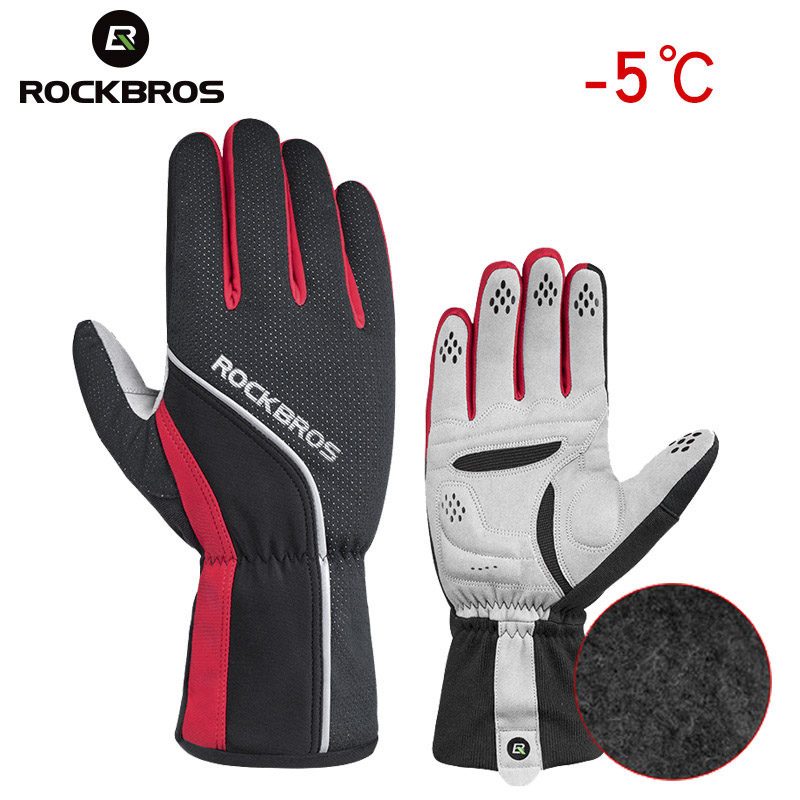 ROCKBROS Unisex Winter Cycling Gloves Sponge Padded Thermal Full Finger Bike Gloves Windproof Men's Outdoor Sports Bicycle Glove gloves asics 134927 0779 sports accessories unisex