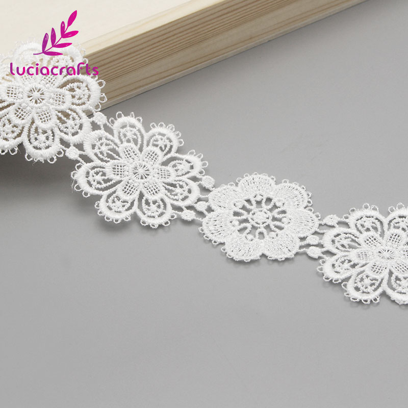 Image 3 - Lucia crafts 1yard/lot 5cm White Flower lace Embroidery Trim Ribbon DIY Wedding Sewing Garment Handmade Accessories N0506-in Lace from Home & Garden
