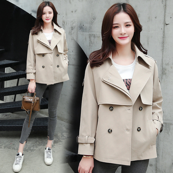 Bri Tops Women Casual Solid Color Double Breasted Outwear Turn Down Collar Female Coat Chic Short Trench Coat For Women amii casual women woolen coat 2018 winter turn down collar solid double breasted female wool blends