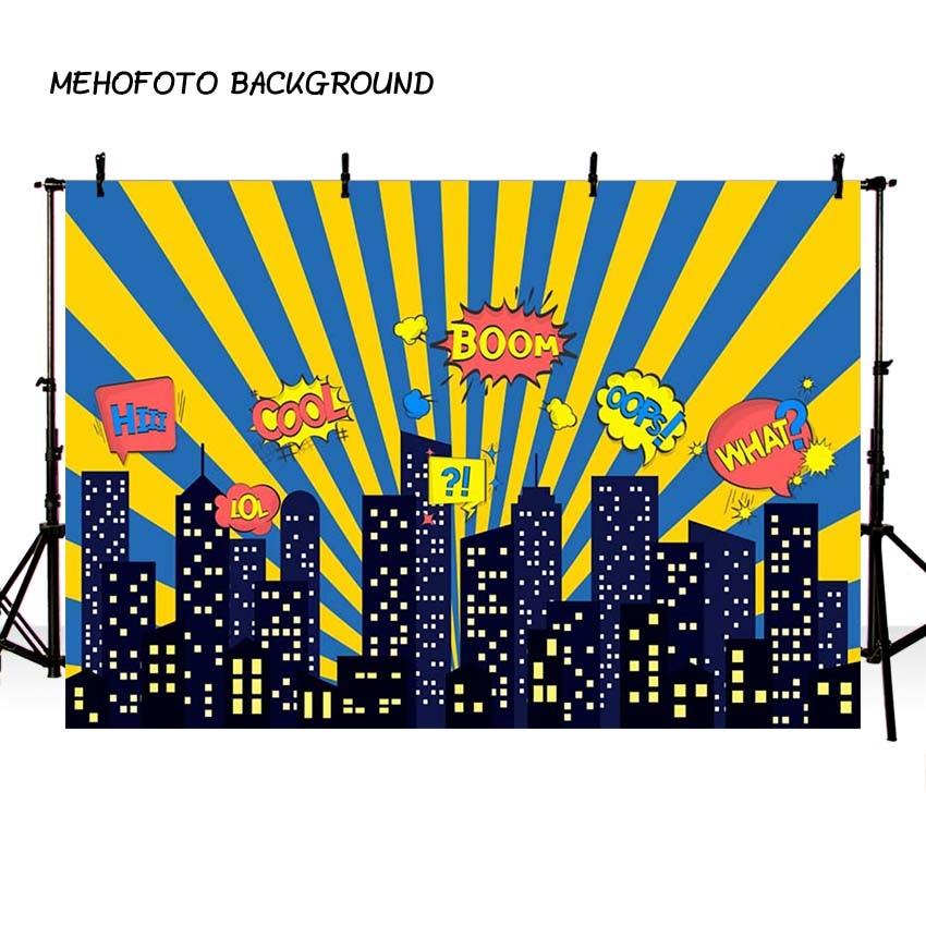 MEHOFOTO Superhero Theme Photography Backdrop City Building Birthday Party Backdrop for Photo Studio Background Custom G-155