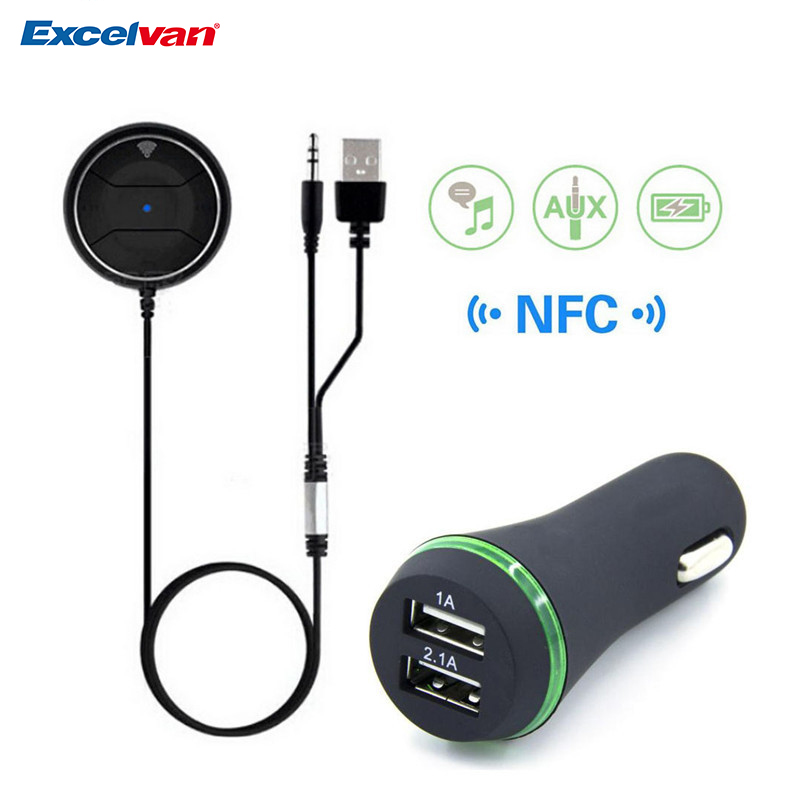 NFC 3.5mm AUX Hands Free Bluetooth 3.0 Car Kit Audio Receiver Stereo Music Aux Speakerphone With