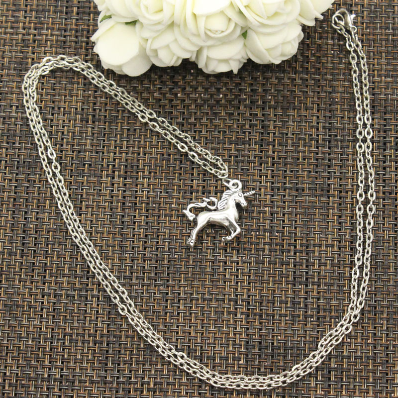 Silver Fashion Unicorn Necklace - Cross or round chain - various lengths 1