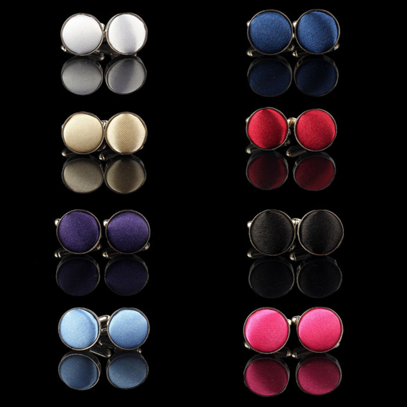 Cufflinks Dress Shirt Cloth Round Busines Wedding Wholesales Men's 1pair for Party 8-Colors