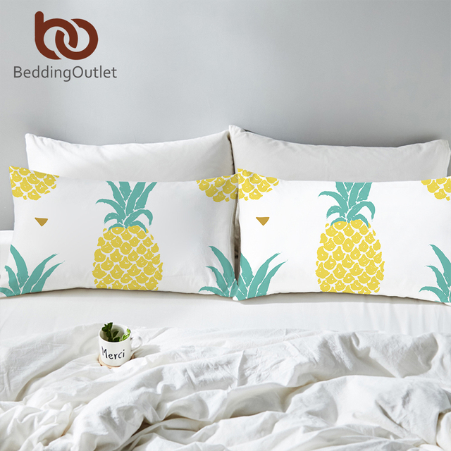 BeddingOutlet Pineapple Pillowcase Tropical Plant Bed Pillow Cover Fruits Printed Pillow Case Home Bedroom Bedding 2pcs