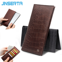 JINSERTA Genuine Leather Card Holder Pouch Phone Case For iPhone X XS Max XR Luxury Crocodile Wallet Cases Thin Slim Bag Cover