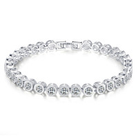 Women Wonderful Swarovski Element Round Cut Cubic Zirconia Tennis Bracelet 7 48