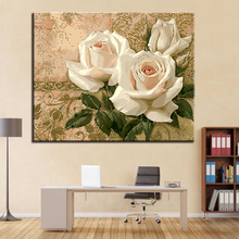 Oil Paint Painting By Numbers DIY Drawing White Roses Coloring Pictures On Canvas Hand Framework Wall Modular Paints Artwork
