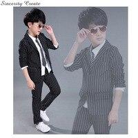 Boys Suits For Weddings Coat+Pant Striped Black White Boys Wedding Suit Formal Suit For Boy Kids Wedding Suits Blazers KS 1601