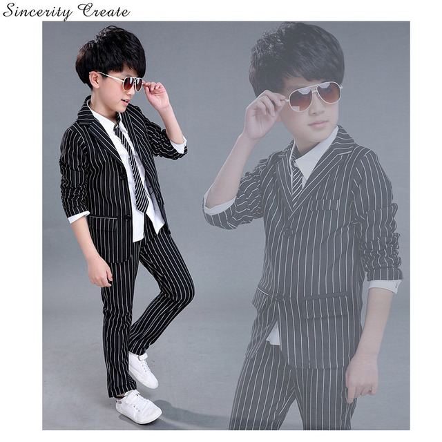 Boys Suits For Weddings Coat+Pant Striped Black White Boys Wedding ...