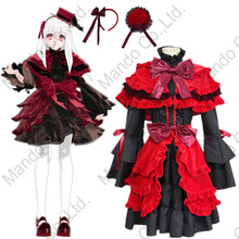 Anime K RETURN OF KINGS Kushina Anna Lolita Dress Gothic Cosplay Costumes Halloween Party Red Dress Suits Carnival 5pcs set