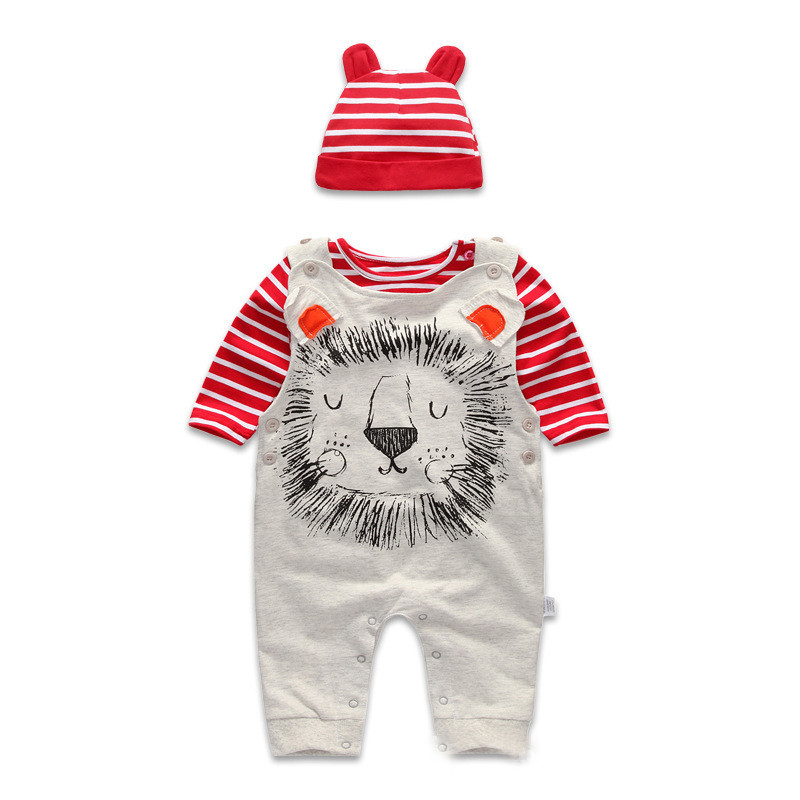Spring Autumn 3 piece Baby Clothing Set Stripped Hat O Neck T Shirt Jumpsuit Pants Infant