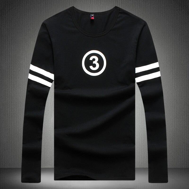 T Shirt Men Fashion New Cotton Long Sleeve Print Tshirt