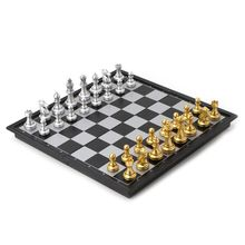 OOTDTY Portable Chess Folding Magnetic Plastic Chessboard Board Game For Kids And Adult
