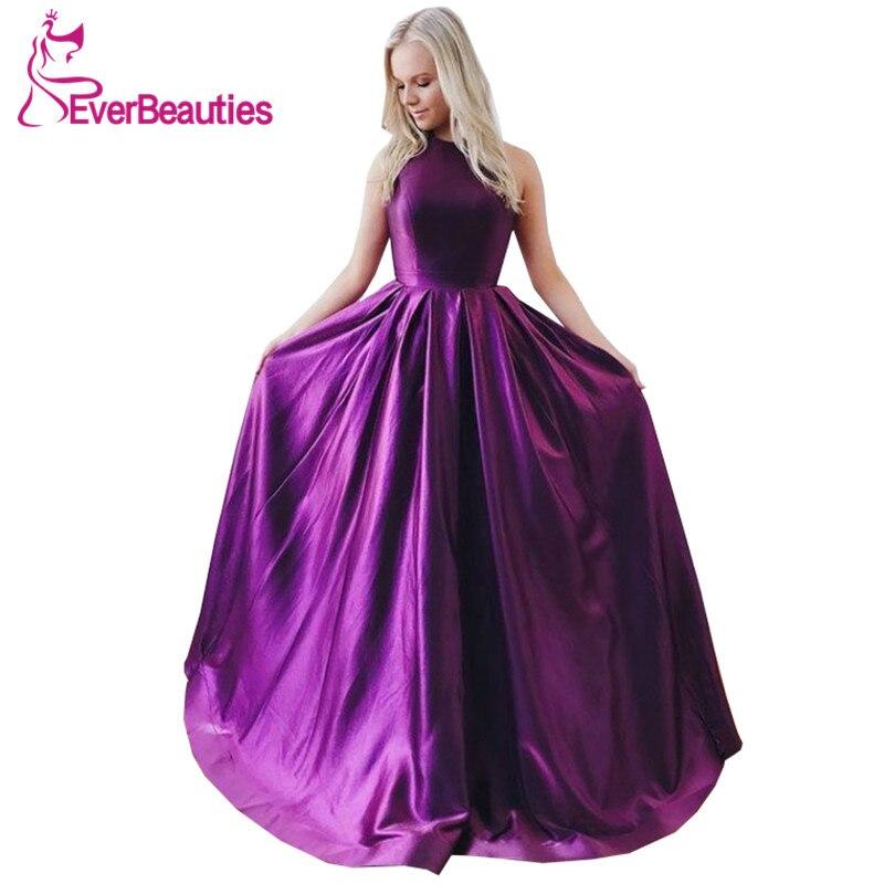 Abendkleider Halter Evening Dresses Long 2019 Satin Backless Party Prom Gown Robe De Soiree