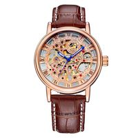 ORKINA Men S Mechanical Hand Wind Fashion Casual Hollow Skeleton Mechanical Leather Strap Wristwatch