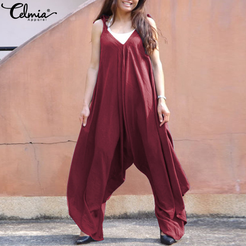 ad64ff8d504 Wide Leg Overalls Women Jumpsuit 2018 Celmia Summer Pants Palazzo Oversized  Strappy Trousers Casual Playsuits Rompers Bodysuit-in Jumpsuits from Women s  ...