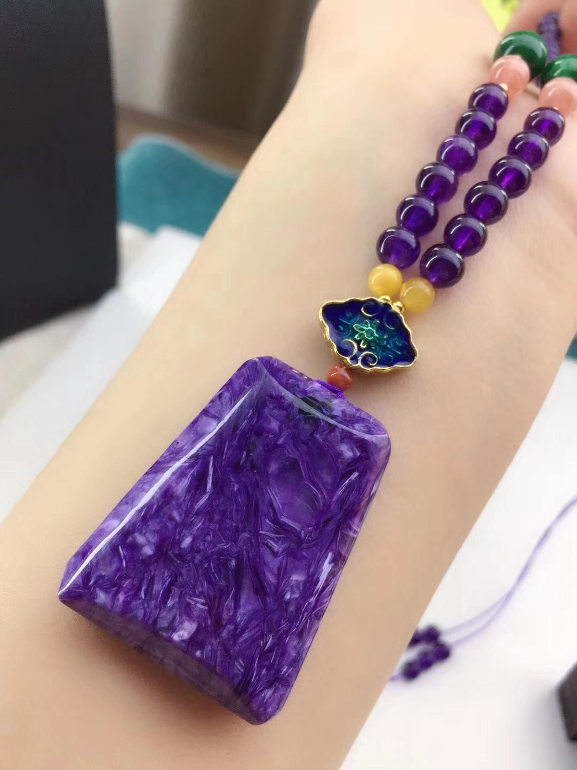 100% Genuine Natural Purple Charoite Gemstone Rectangle Women Men Pendant 39x31x8mm Newly Charm Beads Necklace Gift AAAAA