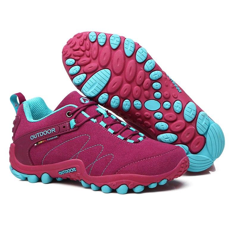 Baskets femmes 2018 nouveau antidérapant résistant à l'usure cross-country chaussures de course en plein air en cuir de vachette chaussures pour hommes de formation