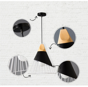 Image 5 - Modern Wood Pendant Lights Lamparas Colorful iron lamp shade Luminaire Dining Room Lights Pendant Lamp For Home Lighting