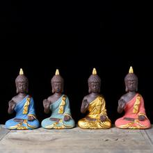 Traditional Mini Garden Accessories Buddha Ceramic Figurine Fengshui Sculpture Meditation Miniatures Zen Home Decor