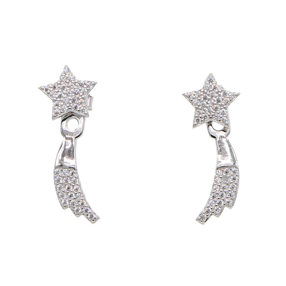 Moda komunikat koreańskie kolczyki 2019 925 sterling silver spadająca gwiazda zwisają kolczyk dla kobiet lady prezent urodzinowy dla niej