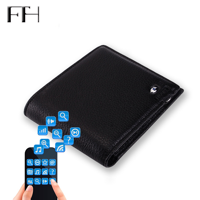 Advanced Anti-Loss Smart Cow Leather Wallet Male Bluetooth Intelligent Business Wallet Multifunction Purse for Gentlemen anti lost smart bluetooth 4 0 wallet for men women