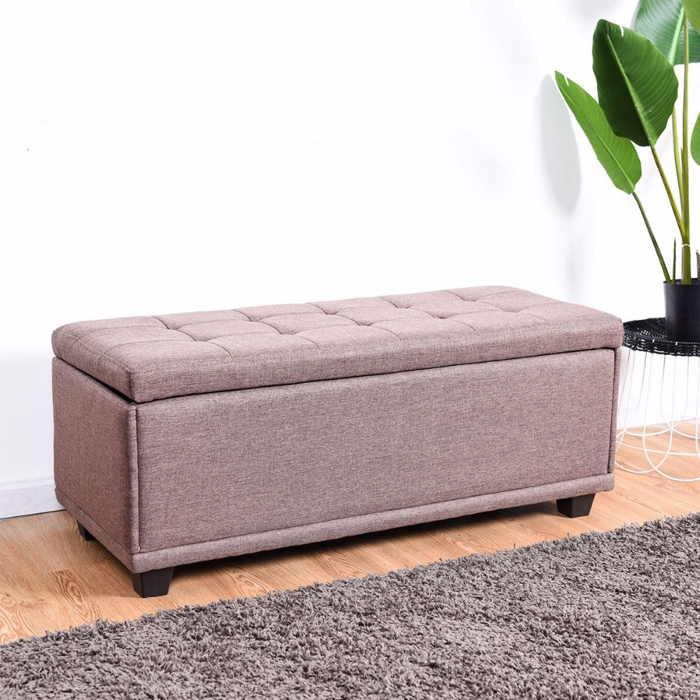 "Giantex 40"" Storage Ottoman Bench Single Ottoman Footstool line surface Seat Box Brown Living Room Furniture HW57501BN(China)"