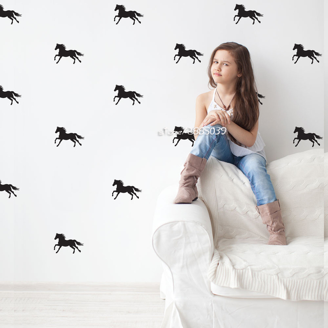 Equestrian Horse Animal Wall Stickers Removable Vinyl Wall Decals Kids Room Living Room PVC Wallpaper Mural Home Decor