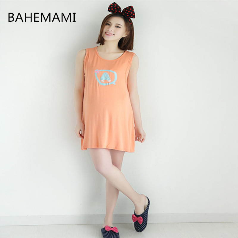 BAHAMAMI Maternity Nursing Dress summer pregnant women sleeveless breastfeeding dress Pregnancy Womens Clothing Mother clothes