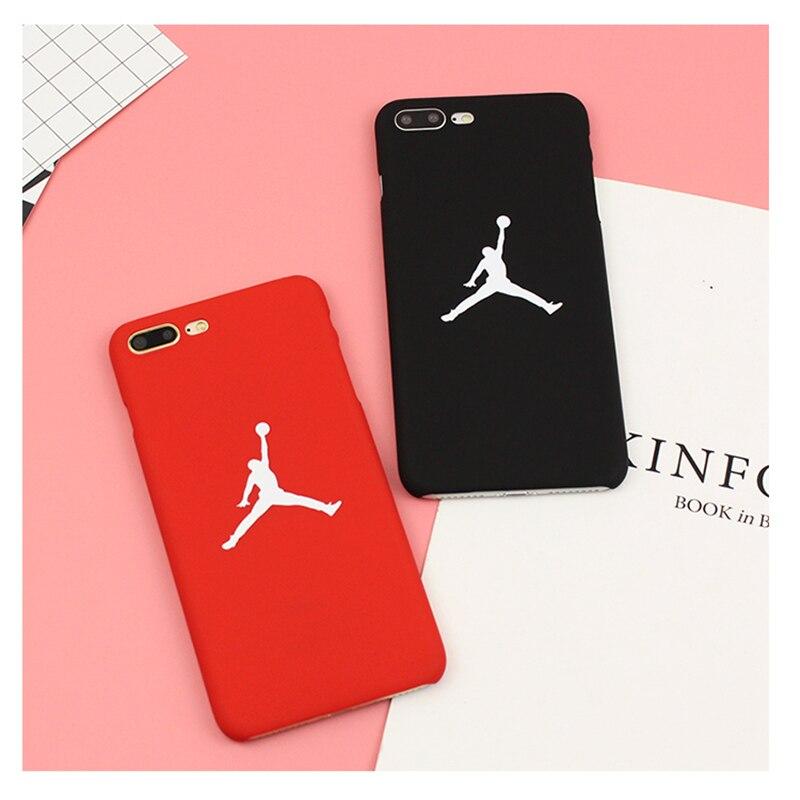 Moda Marca Jordan NBA Caso Rojo Negro Mate De Plástico Duro Caso Del Teléfono cu