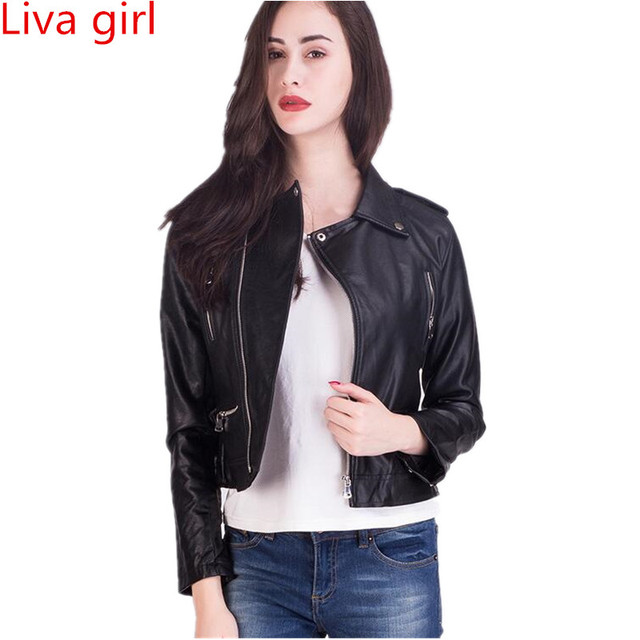 Liva Girl 2017 Autumn Women Faux Leather Jacket Soft Pu Black White