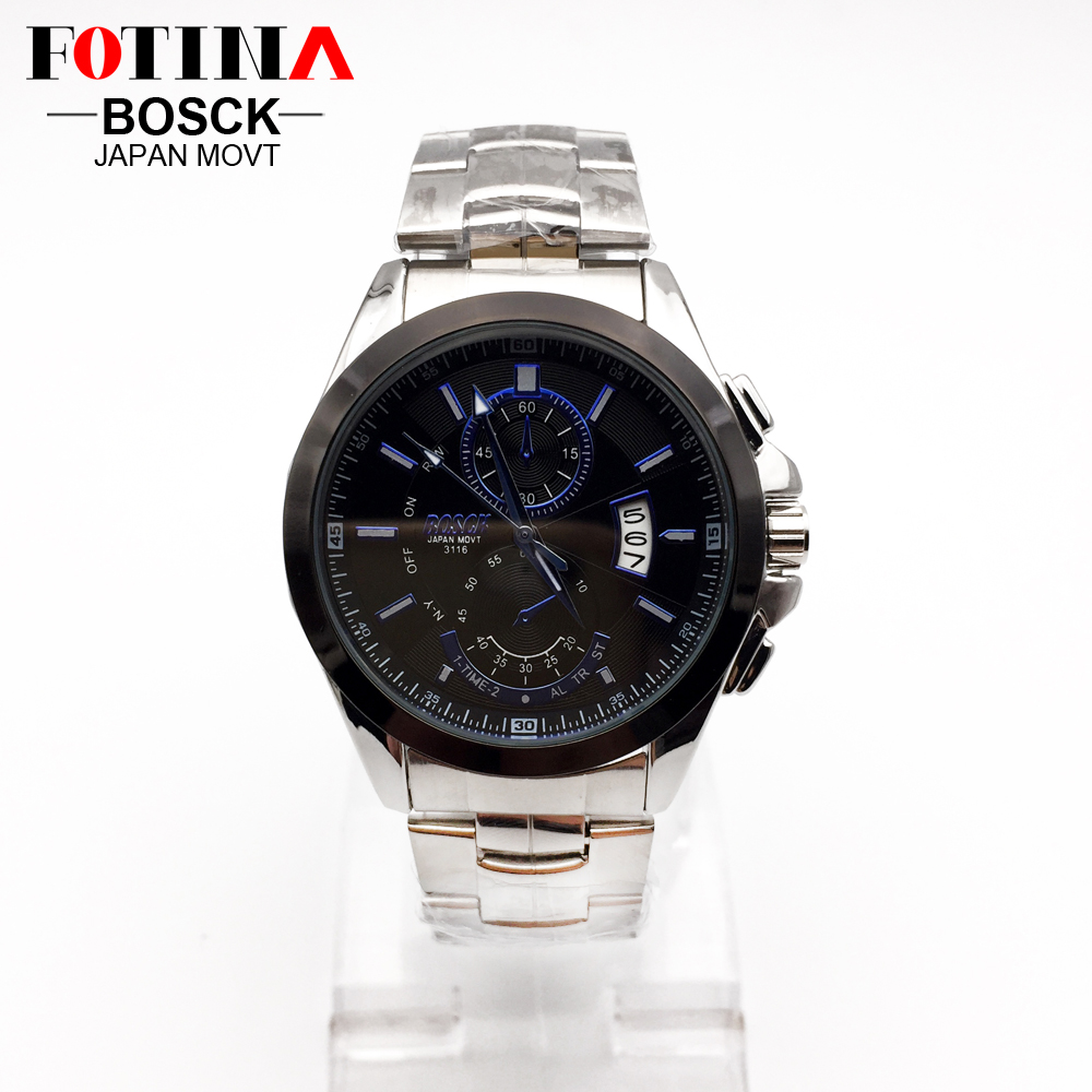 FOTINA Top Brand BOSCK Casual Business Watch Men Stainless Steel Water Resistant Quartz Clock Auto Day Date Watches Montre Homme 3