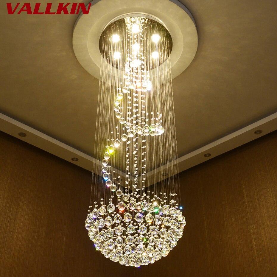 Moderne Lustres En Cristal Au Plafond Lampes Suspendues Pour Villa Penthouse Spirale Duplex Rotation LED K9 Cristal Lustre Appareils