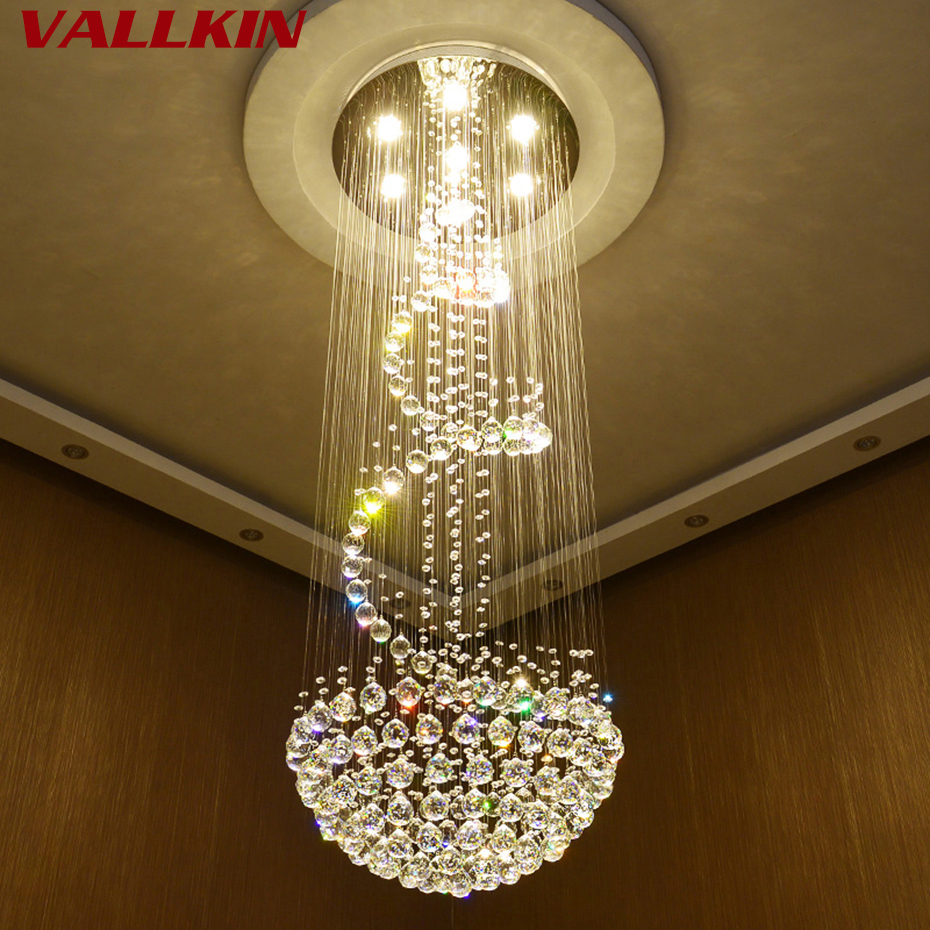 Modern Crystal Chandeliers Ceiling Hanging Lamps For Villa Penthouse Spiral Duplex Rotation LED K9 Cristal Chandelier Fixtures