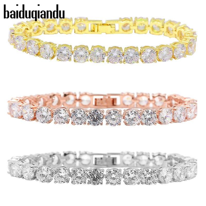 baiduqiandu Round Cut Tennis Cubic Zirconia CZ Zircon Bracelets for Women Bracelets & Bangles for Elegant Wedding Party Jewelry