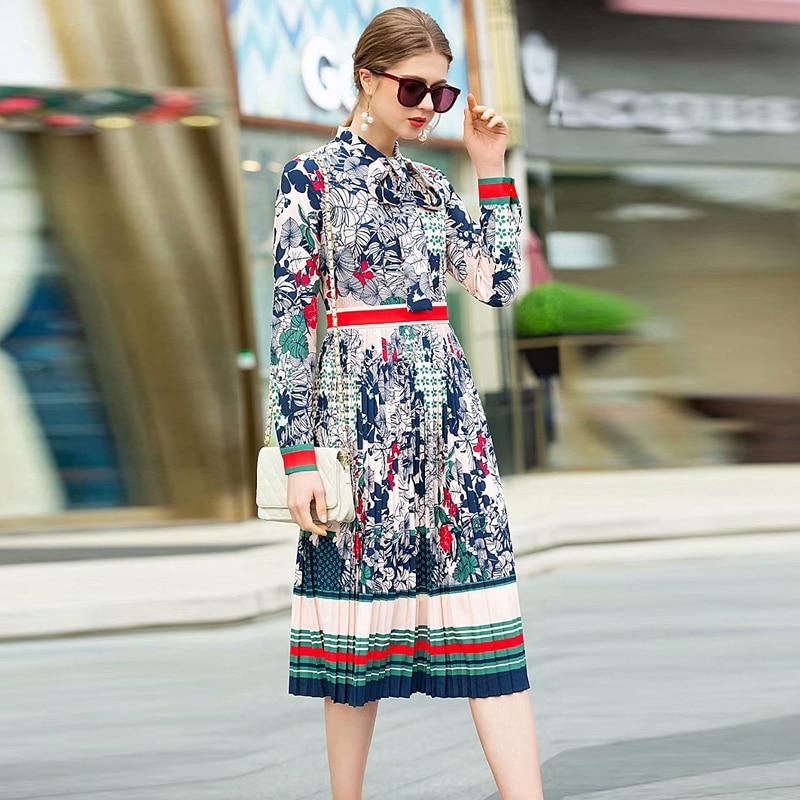 XF D 2019 Spring Fashion Designer Runway Party Summer Dress WomenS Bow Collar Long Sleeve High Waist Pleated Flower Print