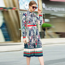 XF D 2019 Spring Fashion Designer Runway Party Summer Dress WomenS Bow Collar Long Sleeve High Waist Pleated Flower Print