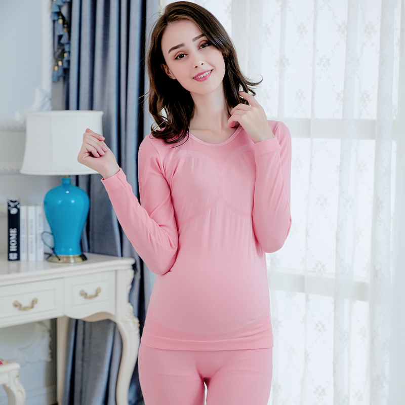 Pengpious winter pregnant women v-neck long Johns suit seamless body nursing clothes set postpartum women lactation clothes set