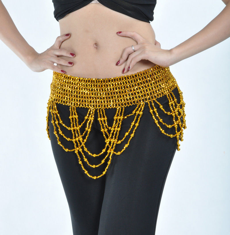New Belly Dance Bead Handmade Necklace Accesory Elastic Gold//Silver 2color