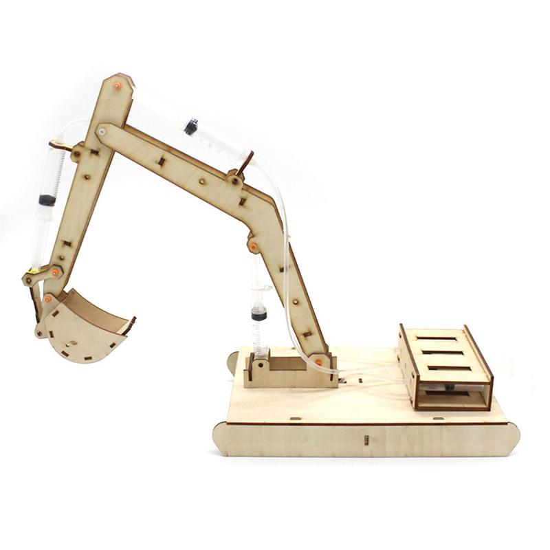 Wooden Puzzles DIY Assembaly Kit Toy Kids Teens Adults Hydraulic Excavator Mechanical 3D Models Self-Assembly