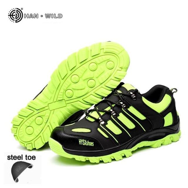 Güvenlik iş ayakkabısı Erkekler Nefes Örgü Moda Rahat Emek Sigorta Delinme Geçirmez Çizmeler Erkek Çelik Ayak Ayakkabı Ayakkabı