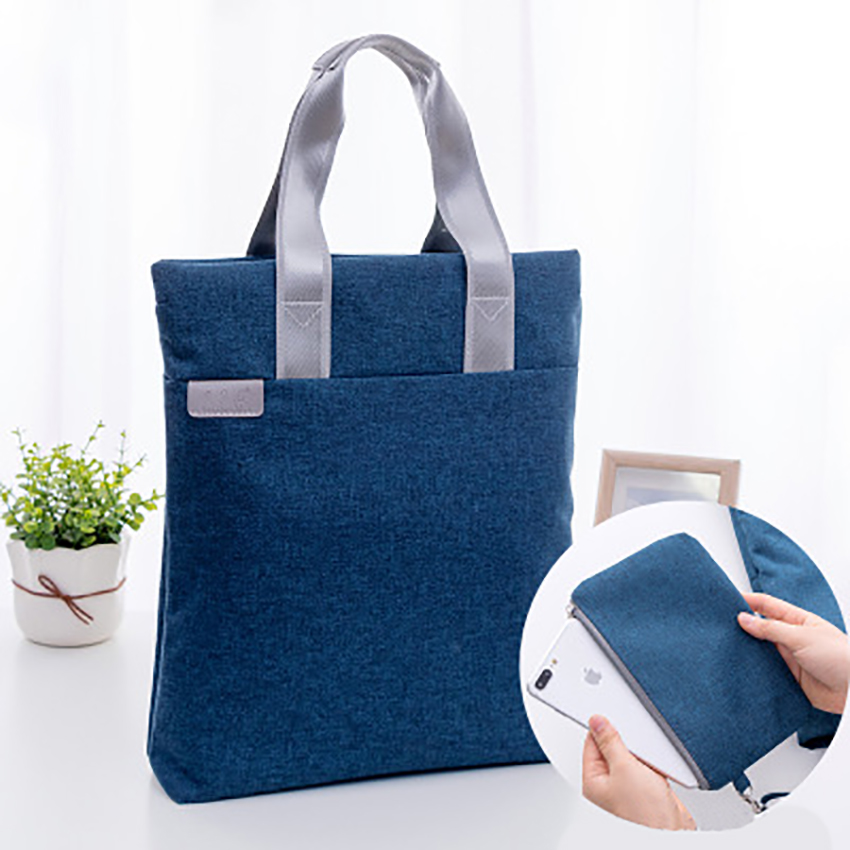 Zipper Briefcase Canvas Vertical Handbag Business Bags Document Paper Storage Bag File Folder Office Supplies Stationery