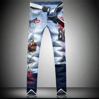 JiSuTong brand Store New Fashion Hand printed men jeans 100% cotton denim pants white high quality mans pants #A006