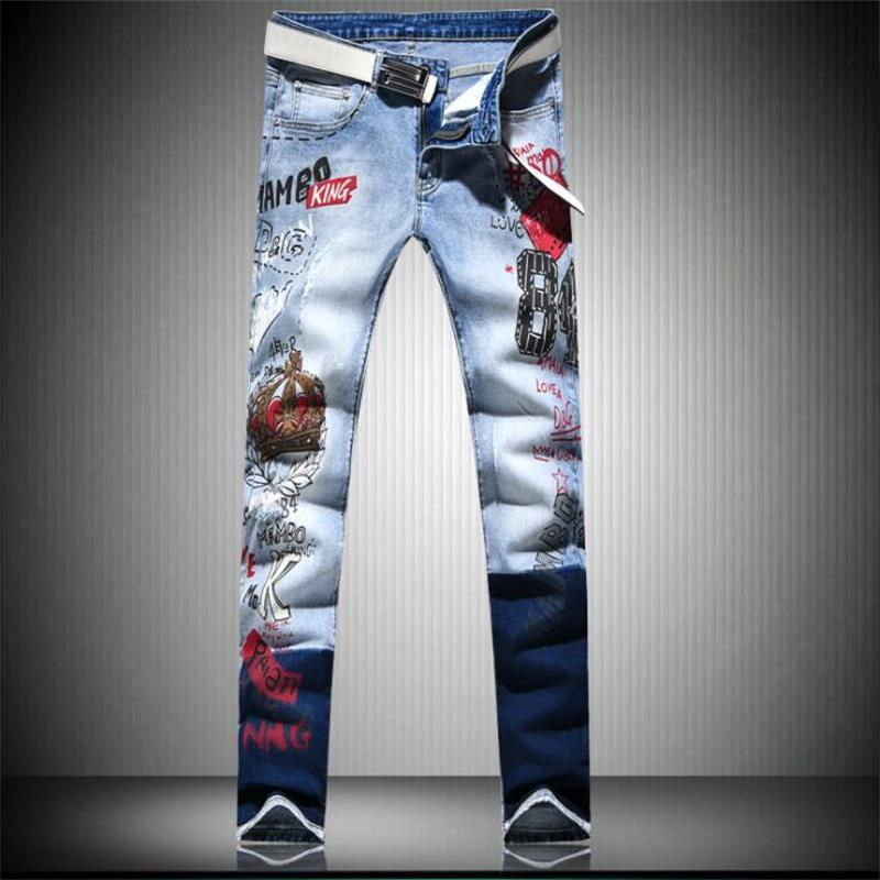 JiSuTong brand Store New Fashion Hand-printed men jeans 100% cotton denim pants white high quality mans #A006