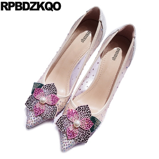 Diamond Flower Size 4 34 High Heels Rhinestone Bling 33 Prom Stiletto Party  2017 Chic Wedding Nude Pointed Toe Sequin Mesh b410479f8ea6