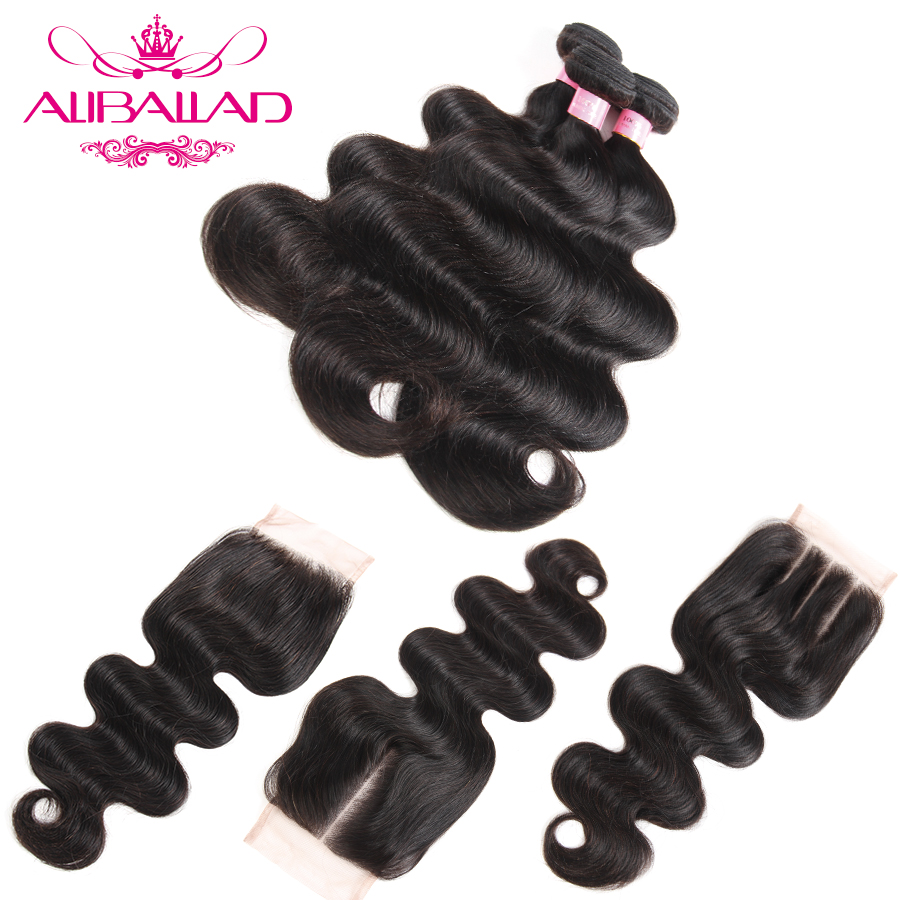 Aliballad Hair Brazilian Body Wave Hair Weave 3 Bundles With Closure 4x4 Inch Free Part Non