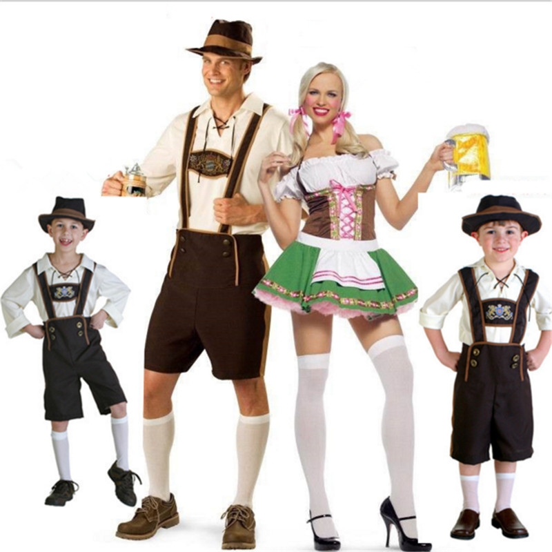 Plus Size Oktoberfest Costume family Beer Wench Couple Beer Waiter clothing women Boys Men Beer Party Cosplay Costumes Halloween