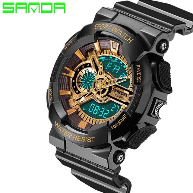 b049ecf45ecd Moda Sanda Deportes Marca Los Hombres del Reloj Digital de Alarma de Cuarzo  Resistente A los