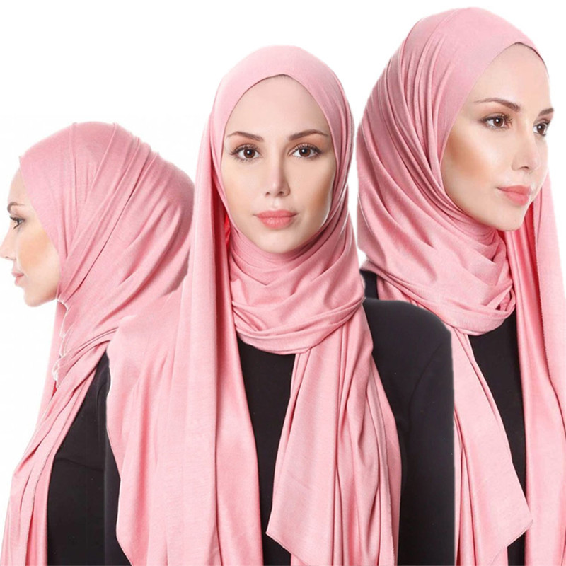 Fashion Muslim Women Jersey Hijab Scarf Shawls And Wraps Plain Hijabs Islamic Clothing Foulard Femme Arab Headscarf Kopftuch