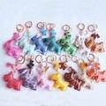 5Pcs/Lot Multicolor Cute Leather Dog Keychain For Keys Animal Key Chain Car Key Ring  Women Bag Charm Free Shipping